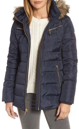 30acd743d2f MICHAEL Michael Kors Women s Puffer Coat With Detachable Hood And Faux Fur  Trim