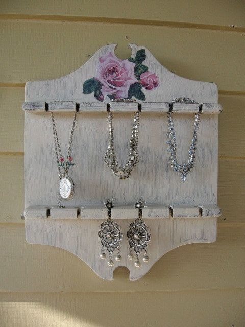 Repurposed spoon holder shabby chic jewelry holder by for Repurposed jewelry holder