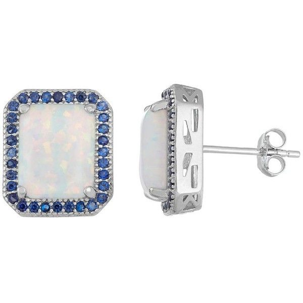 Sterling Silver Lab-Created Opal & Blue Sapphire Sapphire Octagon Stud... ($150) ❤ liked on Polyvore featuring jewelry, earrings, white, round earrings, white earrings, sterling silver sapphire earrings, sapphire earrings and round stud earrings
