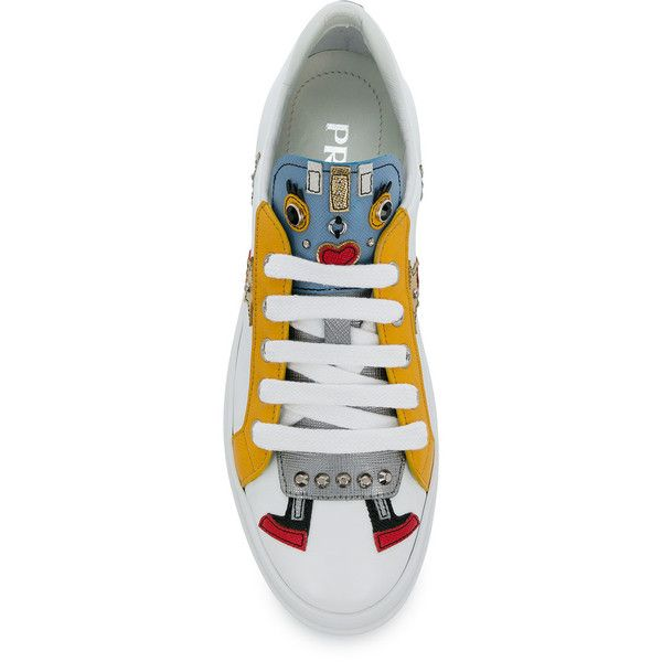 Prada robot platform soled sneakers ($661) ❤ liked on Polyvore featuring shoes, sneakers, prada sneakers, white trainers, platform shoes, round cap and white shoes