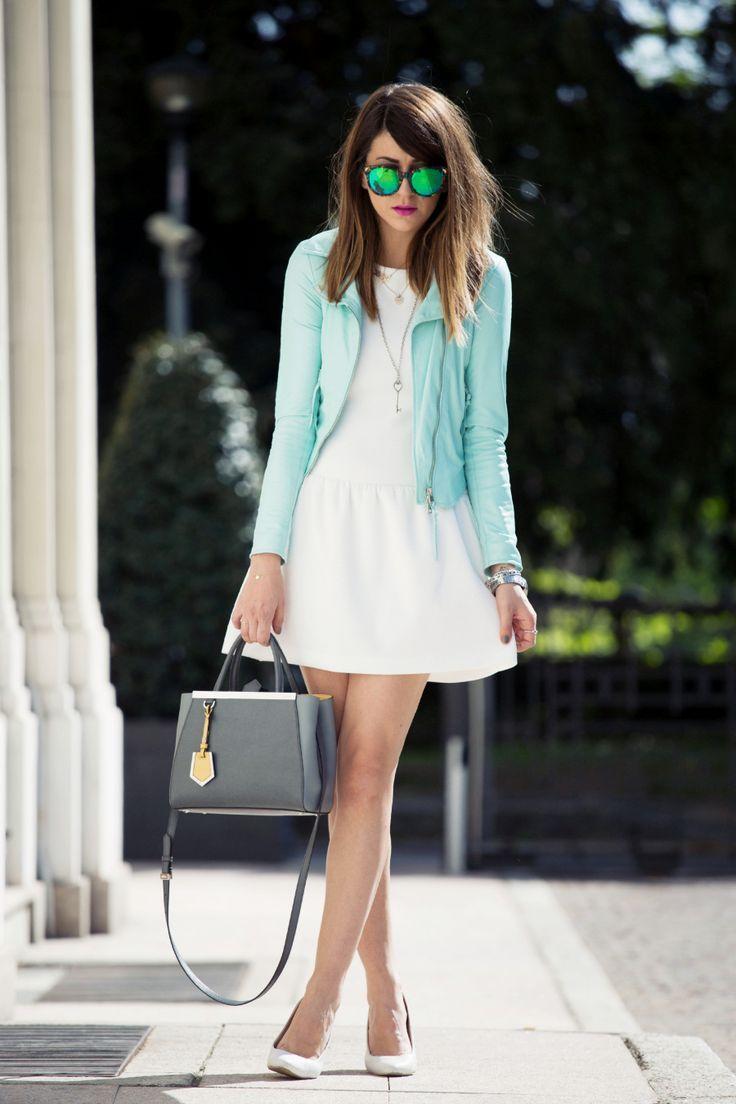 Vestito bianco imperial blue