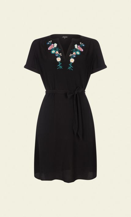 King Louie - Elsa Dress Multiflore black embroidery flowers jurk zwart bloemen borduursels