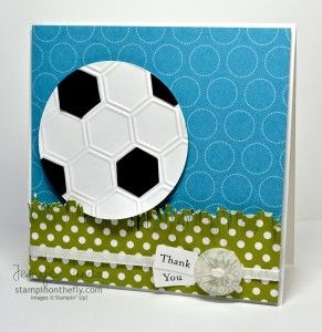 """Soccer -uses the hex folder and 2 1/2"""" circle punch - too cute - @Heather Creswell Creswell Creswell!!! Too late?"""