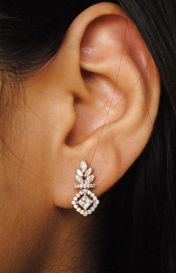 Sale 10 Off Small Diamond Earrings 0 45 Ct By Abhikajewels In 2020 Gold Earrings Wedding Diamond Earing Gold Earrings Studs