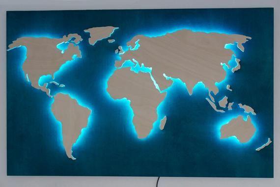 Idee De Cadeau D Anniversaire Carte Bleue De Monde Comme Panneaux Muraux 3d Carte En Bois Pendante Avec La Lumiere Ambiante Et Couleurs Changeantes Decor A L World Map Wall Wood World