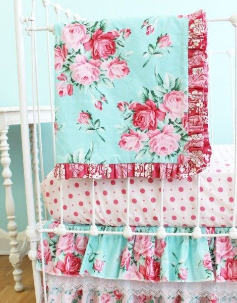 Pink and Blue Roses Baby Girl Crib Bedding - Shabby Chic baby bedding with…