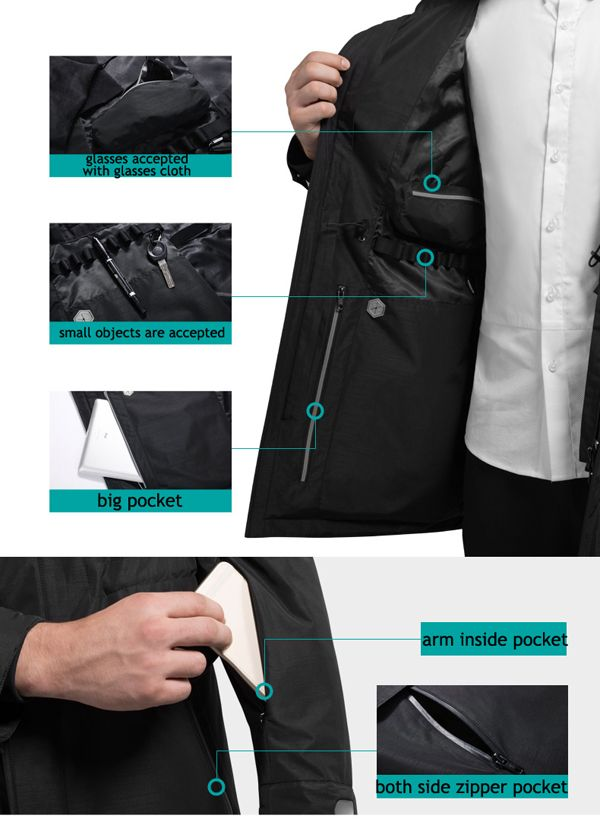 QIPAI Multi Functions Mid Long Down Smart Jackets for Men with Intelligent Wristband is Warm - NewChic