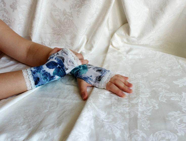 White-gray-blue short lolita floral rose armwarmers fingerless gloves by AlicesLittleRabbit on Etsy