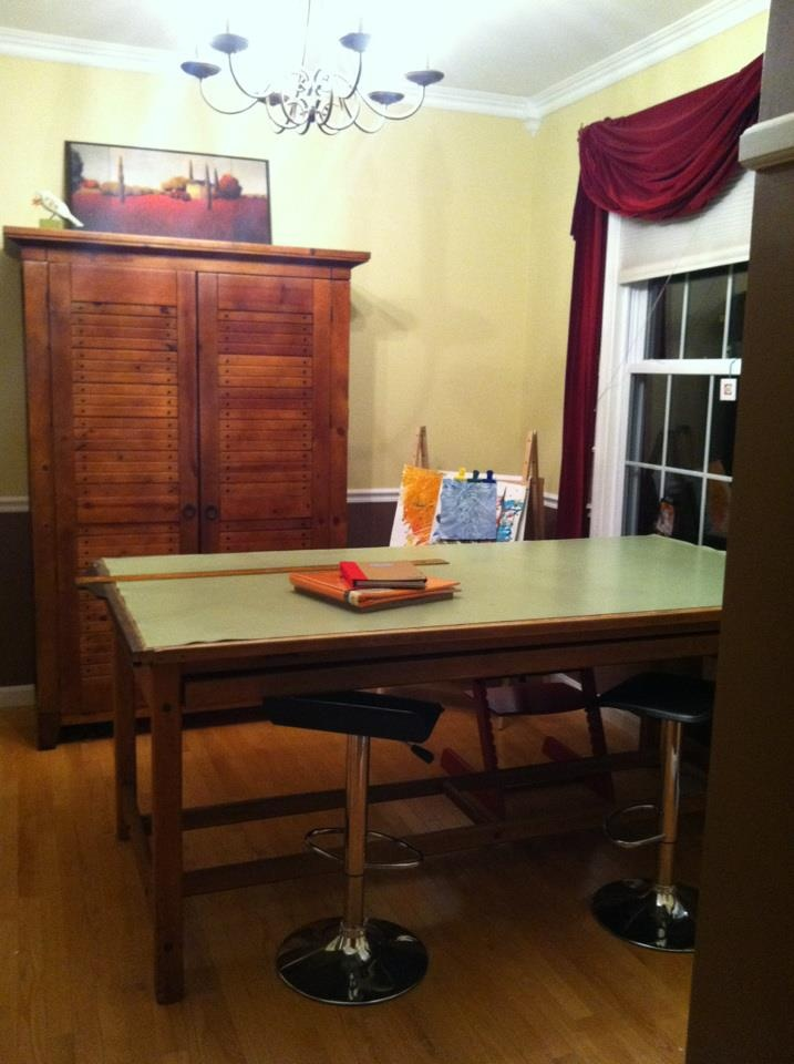 Craft room with old school drafting table completed!: School Drafting, Old School, Craft Projects, Craft Rooms