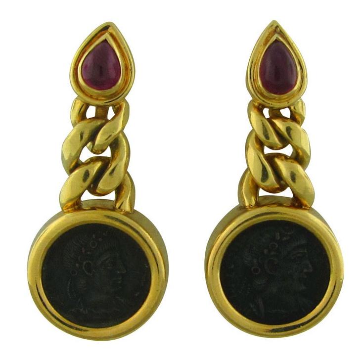 bulgari gold ancient coin ruby earrings