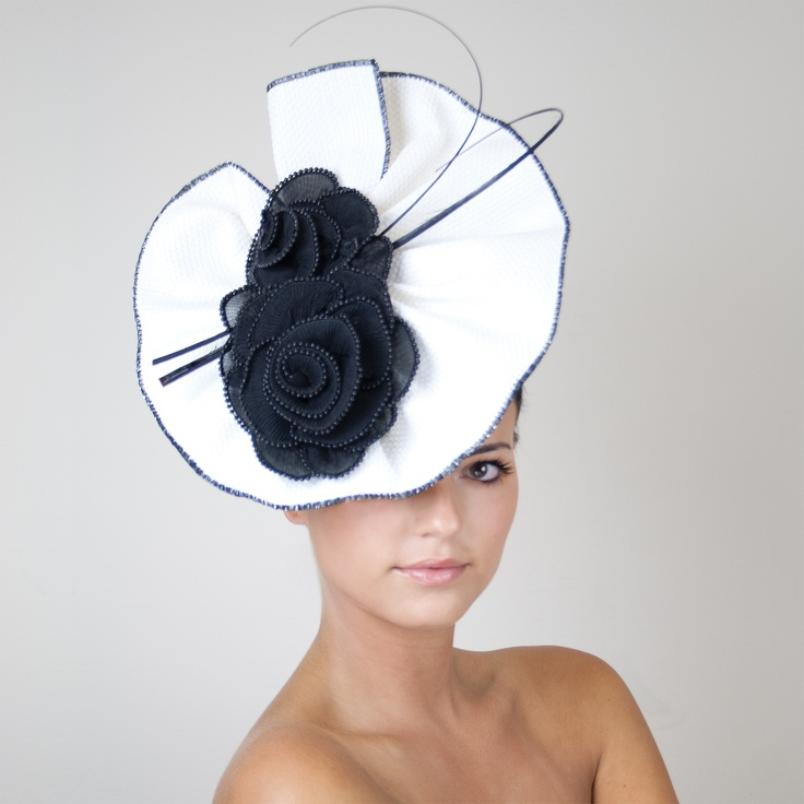 The Hat Store: Black and White Fascinator #classic #melbournecup