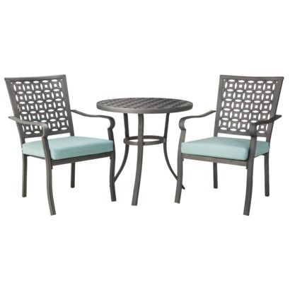 Hawthorne 3-Piece Metal Patio Bistro Furniture Set - Blue @Target