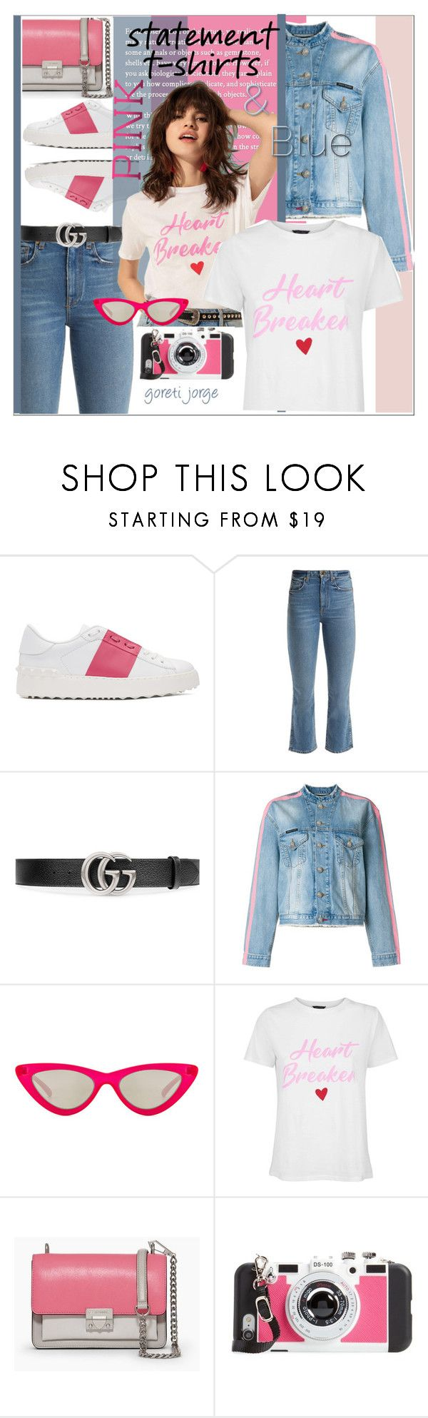 """Statement T-Shirts"" by goreti ❤ liked on Polyvore featuring Valentino, Khaite, Gucci, Philipp Plein, Le Specs, Rebecca Minkoff, BP., polyvoreeditorial, polyfriends and statementtshirt"