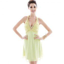 $11.41 Sexy Style Rhinestone Embellished Deep V-Neck Sleeveless Cotton Formal Dress For Women http://www.sammydress.com/product455719.html