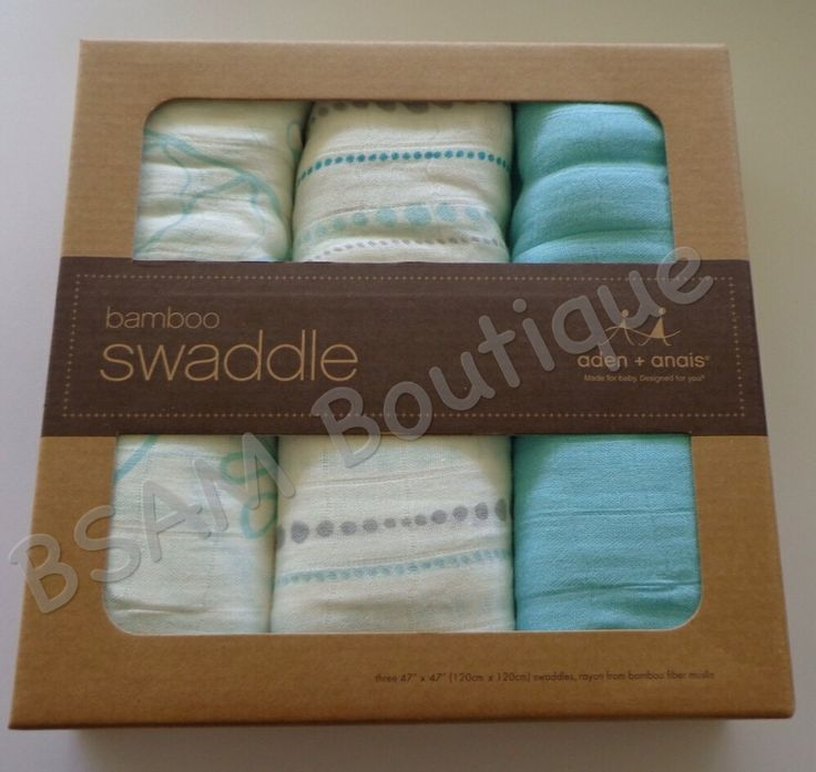 Aden and Anais- Bamboo Muslin Swaddle Wraps 3 pack- Tranquility  