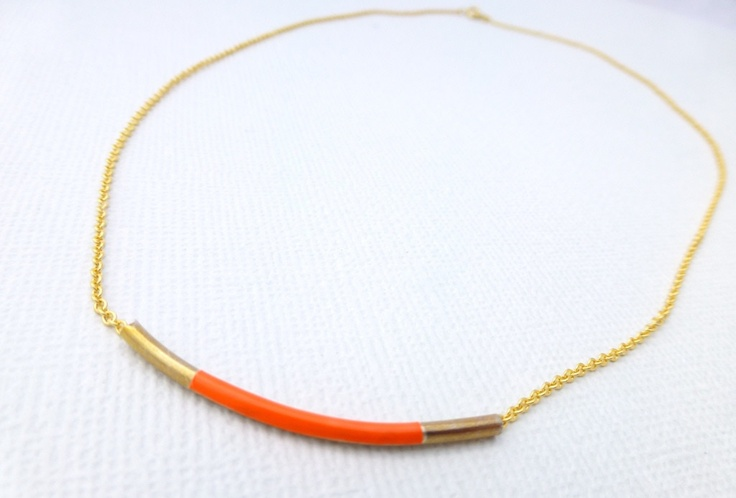 Neon Orange Gold Bar Necklace available at Whimsy & Grace NZ