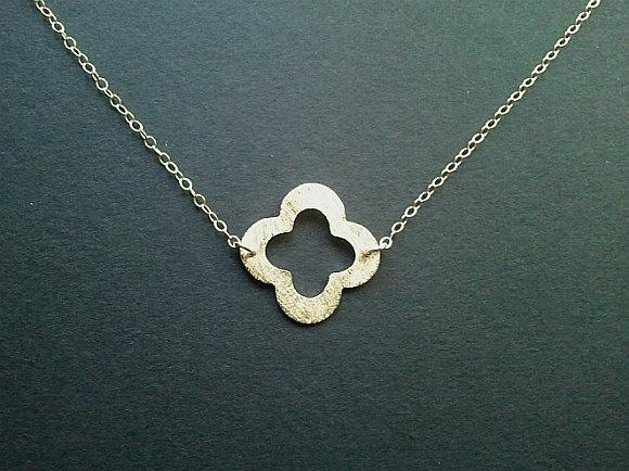 Gold Clover Quatrefoil Pendant, Necklace, clover charm, Lucky Necklace,