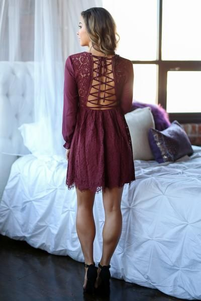 Romance In Paris Dress - Wine long sleeve lace dress with lace up back detail, back, Closet Candy Boutique