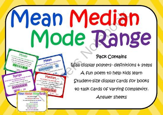 40 Mean Median Mode Range Task Cards Gt 80 Questions