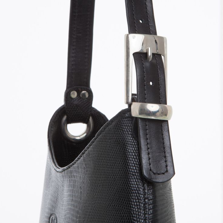 Tara - Black Lizard Shoulder Bag