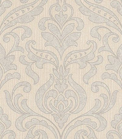 Merletto Grey (33991) - Albany Wallpapers - A beautiful, classic lace damask design on a textured Italian vinyl base - shown here in silver grey and cream on a beige background. Co-ordinating plain available   Please request sample for true colour match.