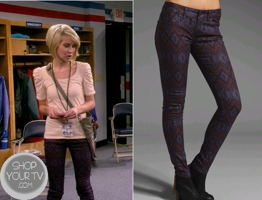 Baby Daddy: Season 2 Episode 5 Riley's Purple Geometric Print Jeans - ShopYourTv