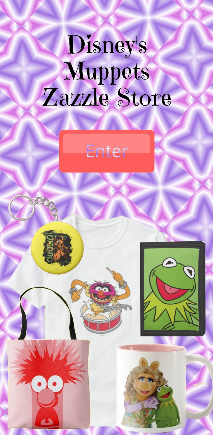 Visit The Muppets Zazzle Store. This store hosts an assortment of products featuring Kermit the Frog, Miss Piggy, Animal, Fozzie Bear, Gonzo the Great and all of your favorite Muppets characters across an adorable selection of images that would bring a smile to anyone's face.