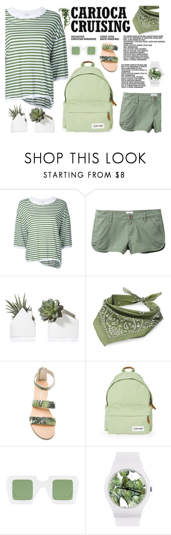"""""""carioca cruising"""" by amelie-poulain-amelie ❤ liked on Polyvore featuring Bassike, RVCA, Steve Madden, Matisse, Eastpak and May28th"""