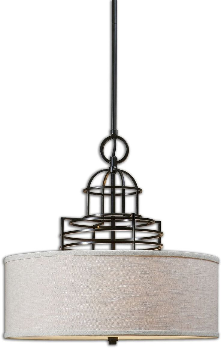 0-016607>Cupola 3-Light Drum Pendant Weathered Bronze