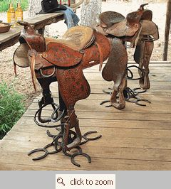 This is so cool! An authentic American western saddle perches on a swivel stand, mounted on a clever horseshoe base on the leather and metal Authentic Saddle Barstool.