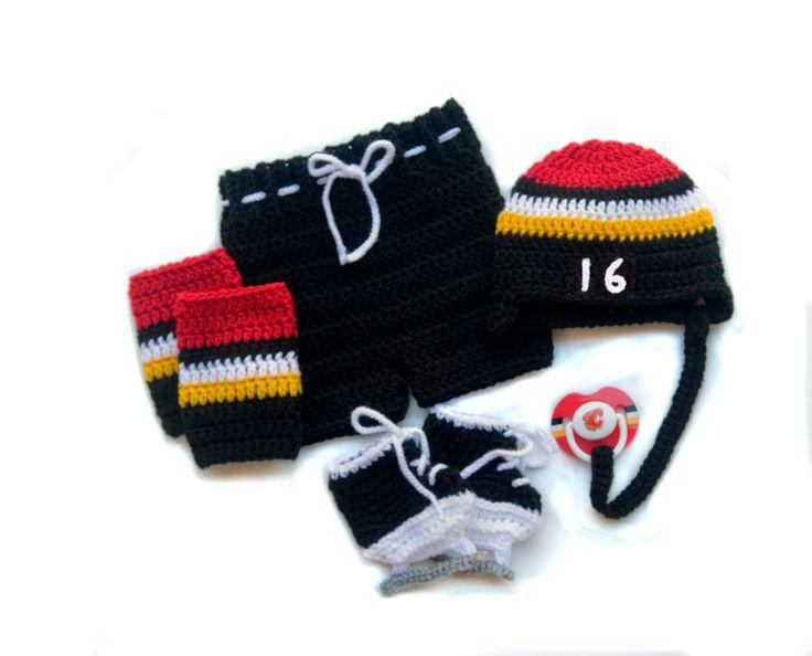 BABY HOCKEY OUTFIT Calgary Flames pacifier not included, Hockey Crochet Hat Pants Socks Baby Hockey Skates, Red Gold White, Knit Baby Hockey by Grandmabilt on Etsy