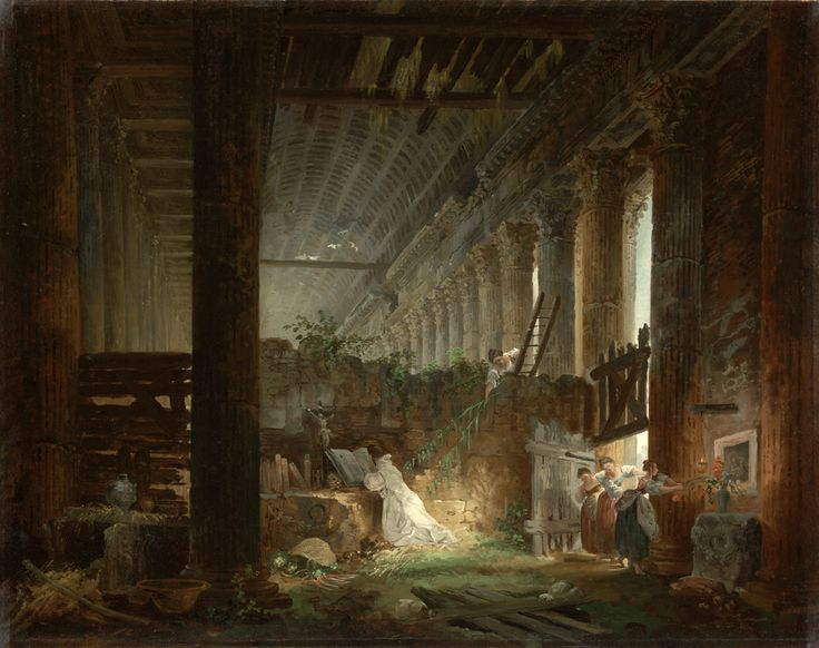 """""""A Hermit Praying in the Ruins of a Roman Temple,"""" Hubert Robert, about 1760. Oil on canvas.   Placed on the stone altar are a crucifix, books, an open Bible, an hourglass, a skull, and a rosary. The skull and hourglass, common symbols of the temporality of man and his creations, suggest that the building itself represents fallen greatness."""