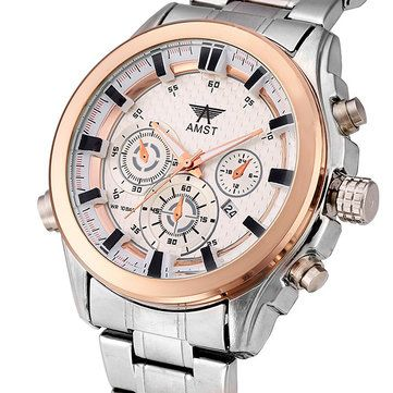 Only US$16.99 , shop AMST AM3007 Men Business Casual Calendar Stainless Steel Quartz Watch at Banggood.com. Buy fashion Men Watch online.