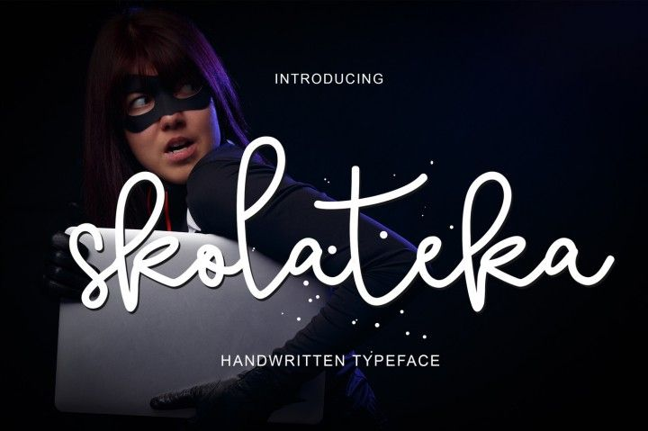 Introducing Skolateka Script  Skolateka Script a new fresh & modern script with a handmade style, decorative characters and a dancing baseline! So beautiful on invitation like greeting cards, branding materials, business cards, quotes, posters, and more!! Skolateka Script come with 268 glyphs. The alternative characters were divided into several Open Type features such as Swash, Stylistic Sets, Stylistic Alternates, and Ligature. The O