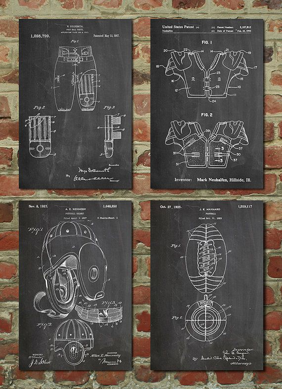 Football Patent Posters Group of 4 Football Gifts by PatentPrints