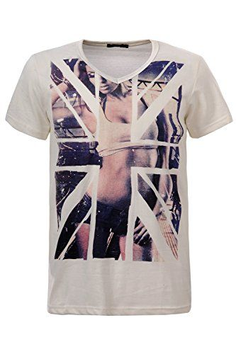 Glo-Story Men's Union Jack Printed T-Shirt  #formen #clothing #fashion #fashiontshirt #flagprint #shortsleevetshirt #greytshirt #unionjacktshirt
