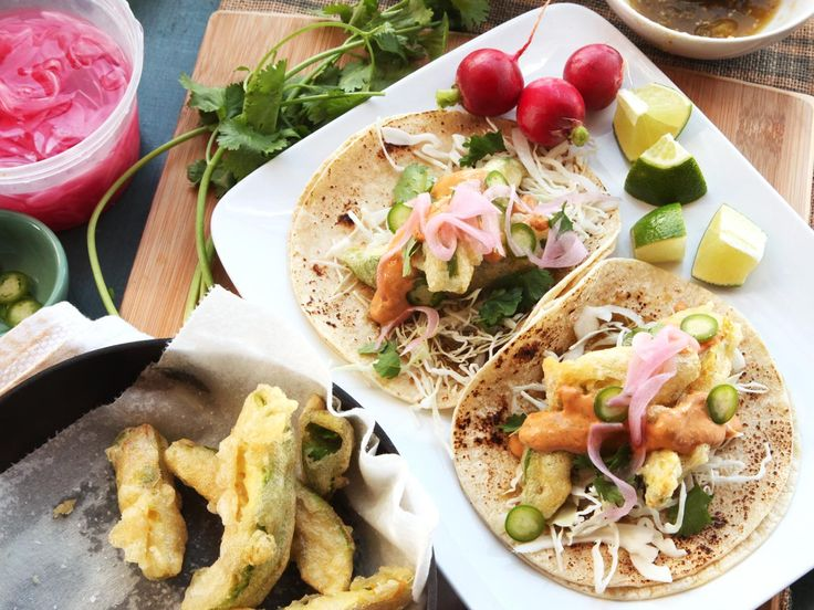 Fried-Avocado Tacos With Chipotle Cream, Cabbage, and Pickled Red Onions Recipe | Serious Eats