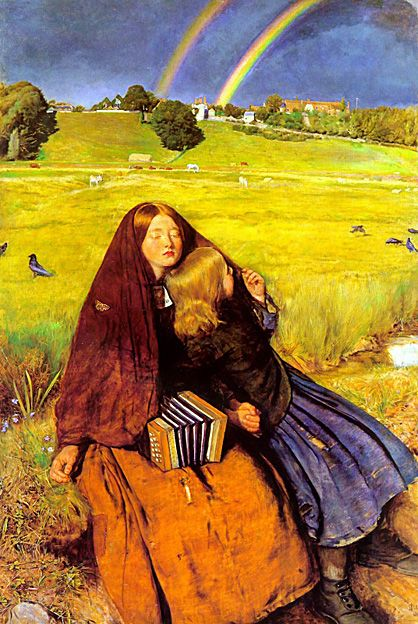 The Blind Girl painted by John Everett Millais 1855. The blind girl was modelled by Matilda Proudfoot and Isabella Nicholas as her younger sister. Millais wife Effie was the first choice of model for the blind girl but her face was overpainted and replaced by Matilda. The village in the distance is Winchelsea, Sussex, England.