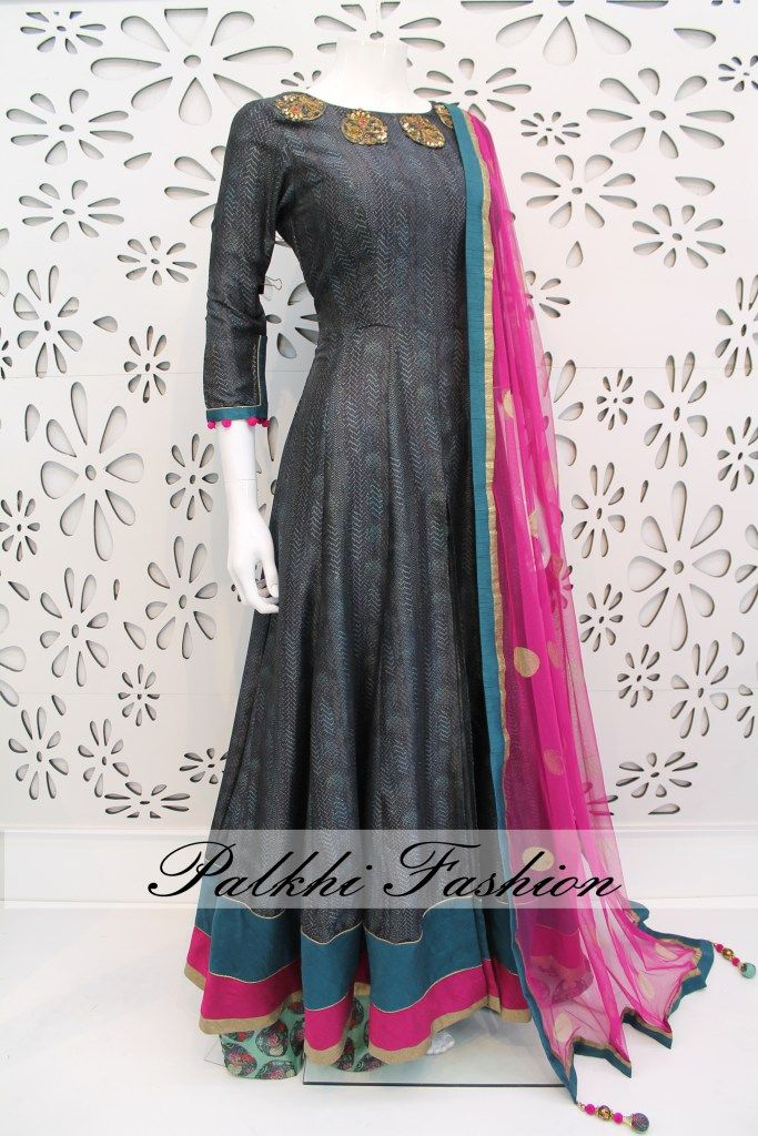 PalkhiFashion Exclusive Full Flair Dark Grey Silk Outfit with Silk Print palazzo Pant.
