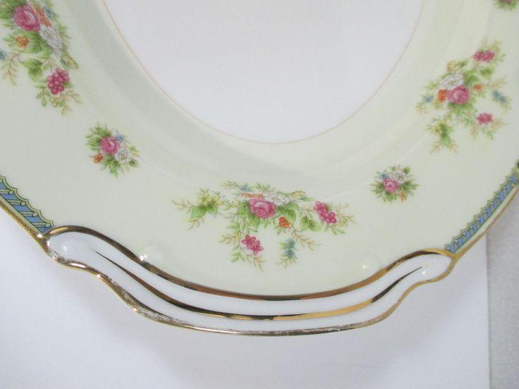 Noritake Serving Platter Oval Vtg Nippon Toki Kaisha Floral Blue Border Handles #Noritake #Baroque