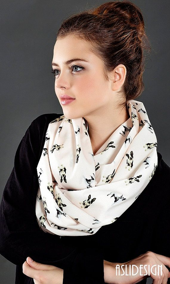 Boston Terrier Scarf Infinity Scarf Cream Color Dog by Aslidesign