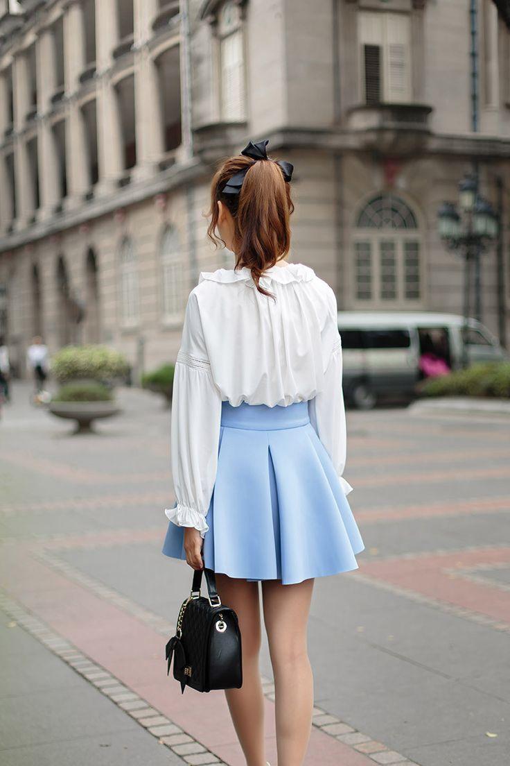 Japanese Fashion- Chiffon lantern sleeve shirt AddOneClothing.com Size Chart