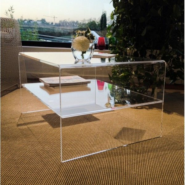 Perspex Clear Acrylic Coffee Table With Shelf.