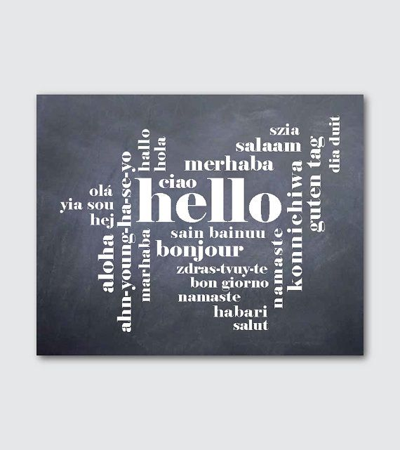 Hello - Wall Art - Hello in different languages - Hello, Bonjour, Hola - 8 x 10 or larger print - Typography - Your choice of background