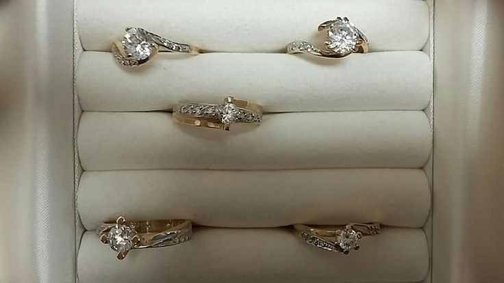 engagement  white and yellow gold rings 14k with stones