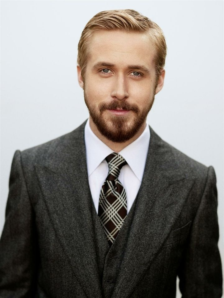 Ryan Gosling  - 2021 Light blond hair & businessy hair style.