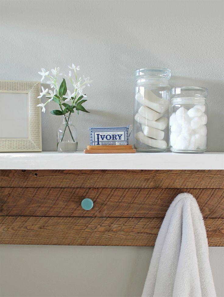 Best Wooden Bathroom Shelves Ideas On Pinterest Crates - White bathroom shelf with hooks for bathroom decor ideas