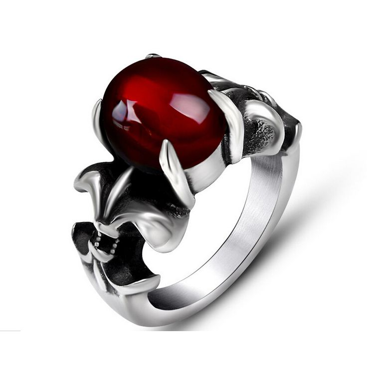 Black Onyx Red Agate Ring For Women Men Thick Band In Antique Titanium Stainless Steel Vintage Gothic Style Acessories