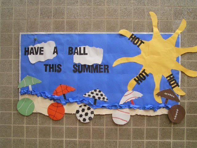 beach bulletin board ideas | The waves were made from crumpled up paper for a 3-D look.