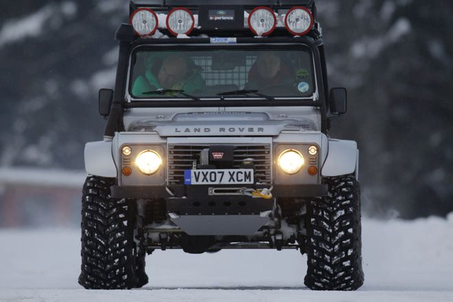 //LandRover Defender Bigfoot, custom-built in Land-Rovers Special Projects Division for off-road recovery. These well-travelled beasts run on enormous tyres, enabling them to power their way through the deepest snow.
